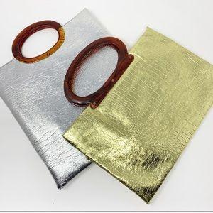 Pair of VTG Metallic Foil Clutch Handbags